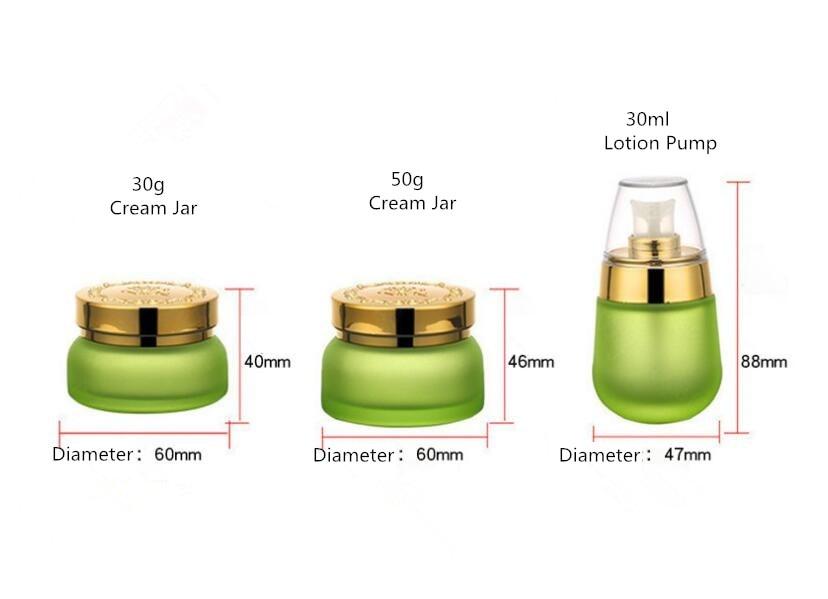 Skin Toner Suit Empty Bottle Silver Gold Carved lid Green Emulsion Bottle Glass Cream Lotion Pump 30ml 50ml 120ml 30g 50g (8)