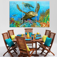 Modern 3 Pieces Unframed Deep Sea Oil Painting On Canvas Deep Sea Turtles In Blue Living
