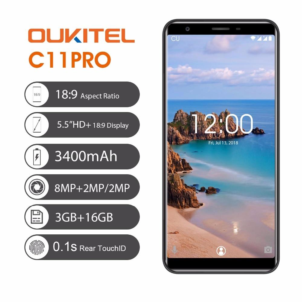 D'origine OUKITEL C11 Pro 5.5 pouce 18:9 Affichage Android 8.1 Mobile Téléphone Quad Core 3g RAM 16g ROM 4g 3400 mah 8.0MP Smartphone