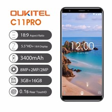 Orijinal OUKITEL C11 Pro 5.5 inç 18:9 Ekran Android 8.1 Cep Telefonu Dört Çekirdekli 3G RAM 16G ROM 4G 3400 mAh 8.0MP Smartphone