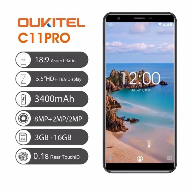 Original OUKITEL C11 Pro 5.5 inch 18:9 Display Android 8.1 Mobile Phone Quad Core 3G RAM 16G ROM 4G 3400mAh 8.0MP Smartphone