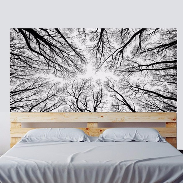 stereo black white abstract branches forest woods headboard wall