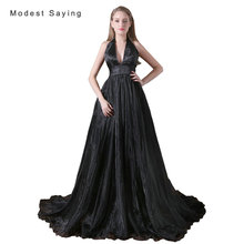 Sexy Backless Gothic Witch Style Black A-Line Halter Wedding Dresses 2017 Women Long Organza Bridal Gowns vestido de noiva A021