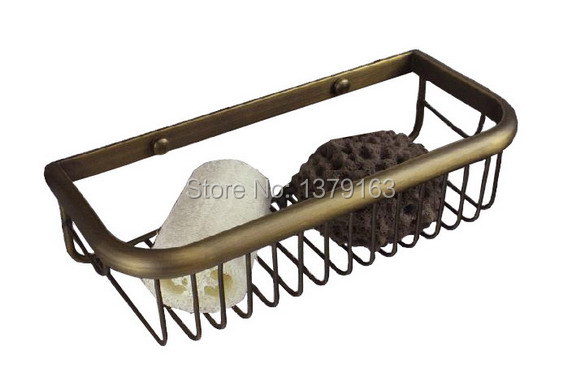ФОТО Antique Brass Wall Mounted Bathroom Accessory Soap / Sponge Shower Storage Basket aba082