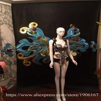 Секси леди бюстгальтер бикини дизайн Секрет модель шоу на сцене носит костюм питания певица бальных танцев Sexy крылья ткань DJ Бар платья