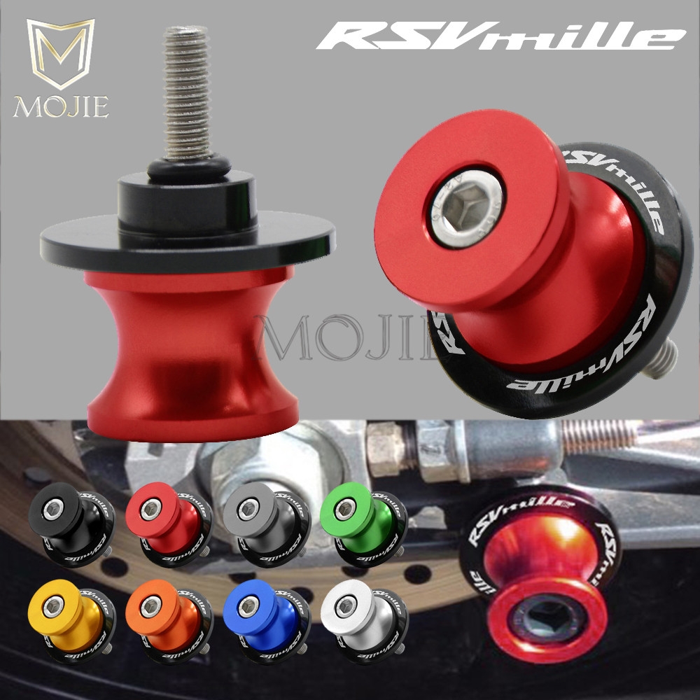Swingarm Sliders Spools 6mm CNC Aluminum Motorcycle Rear Swingarm Stand Cover Protector For Aprilia RSV MILLE S / R 1999-2008