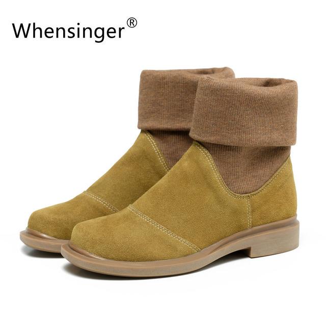Whensinger-2017 nova primavera mulheres botas de couro genuíno slip on toe rodada 2 cores 601