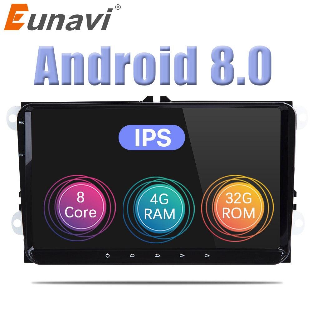 Eunavi 2 Din 9 ''Android 8.0 octa base de voiture radio stéréo GPS pour VW Polo Jetta Tiguan passat b6 cc fabia miroir lien bluetooth