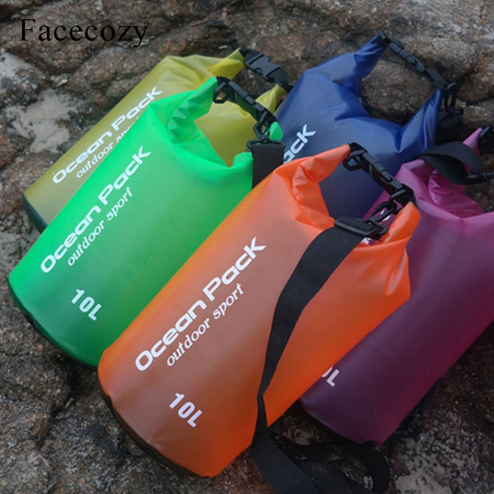 Facecozy Summer Waterproof Ocean Pack River Trekking Dry Bag PVC Translucent Bucket Pocket Watertight Drifting Swim Sports Bags