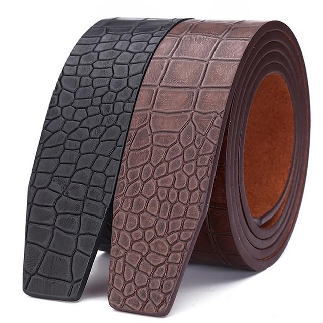 Los mejores diseñadores de lujo de la marca sin dientes cinturones para hombre de alta calidad hombre correa de cuero genuino cintura cocodrilos cinturón hebilla No