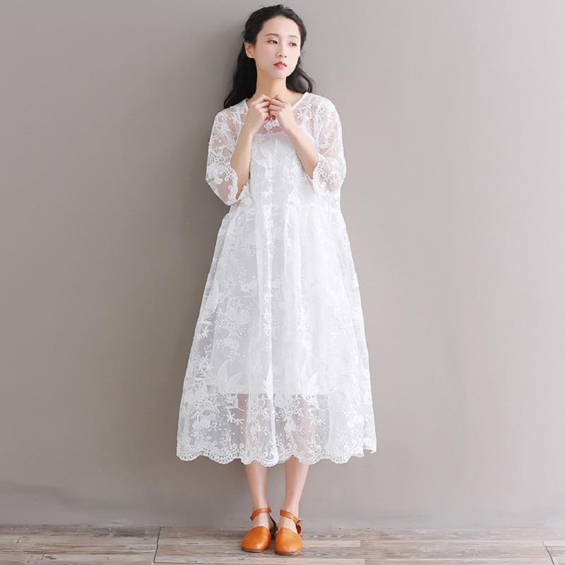 Buy Mori Girl Summer Women White Midi Dress Round Neck Floral Embroidery Vestidos De Festa Half Sleeve Organza Lace Party Dress for $19.89 in AliExpress store