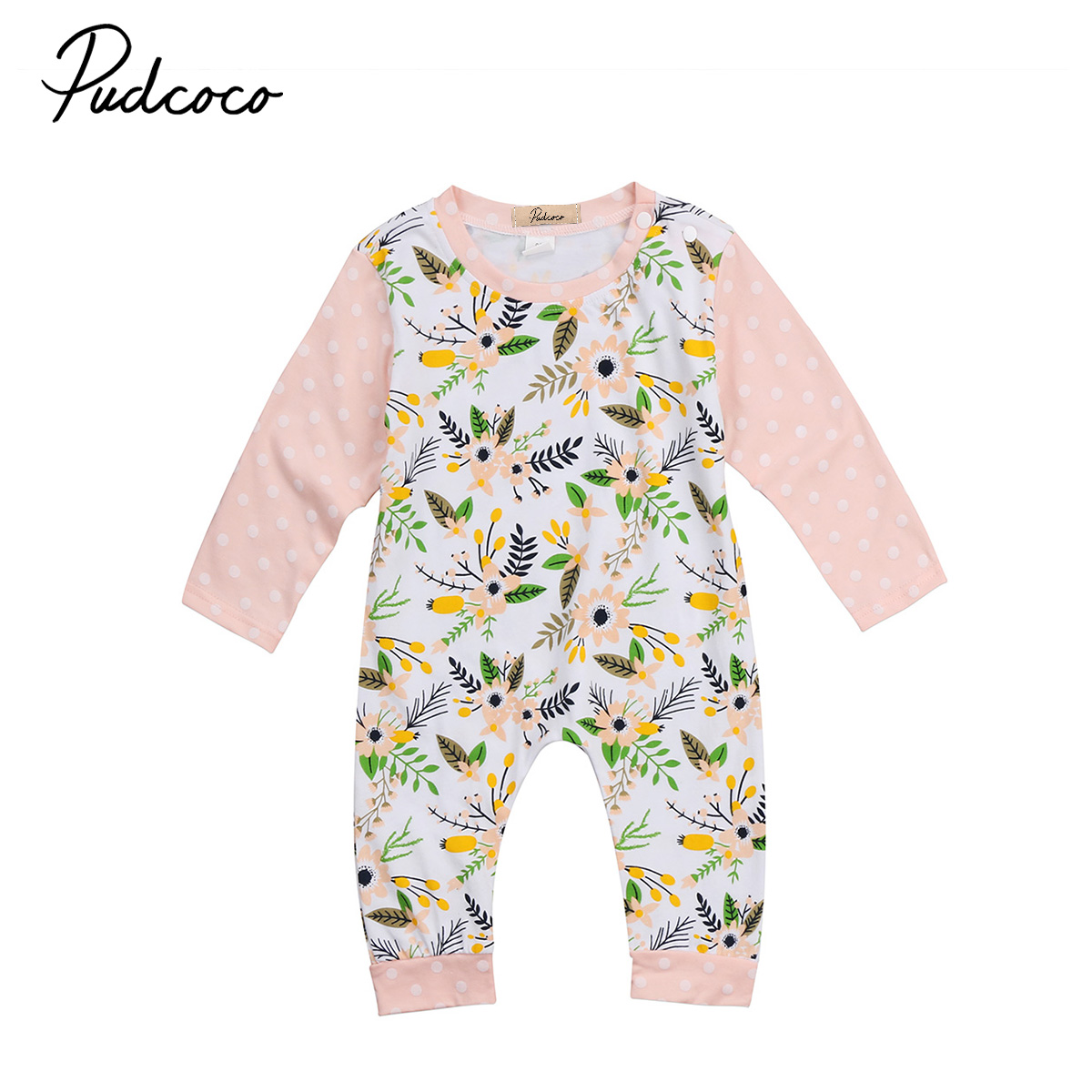 Flower baby Girl Clothing Lovely Toddler Infant Baby Girls Floral Long sleeve Romper Jumpsuit Clothes Outfit 0-24M