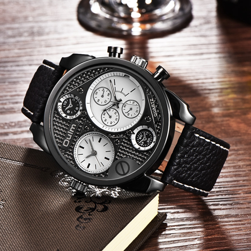 Oulm Mens Unique Designer Watches Luxury Watch Male Casual Leather Strap Hours Decorated Small Dials Quartz Clock reloj hombre oulm mens top luxury brand tag watches casual leather strap wristwatch double time zone japan movt quartz watch male clock