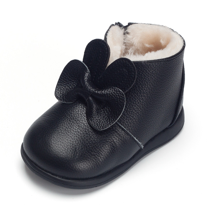 XQT.GZ Brand Baby Shoes First Walkers Winter Thickened Cotton Shoes Baby Footwear Toddler Girls Bowknot Leather Shoes