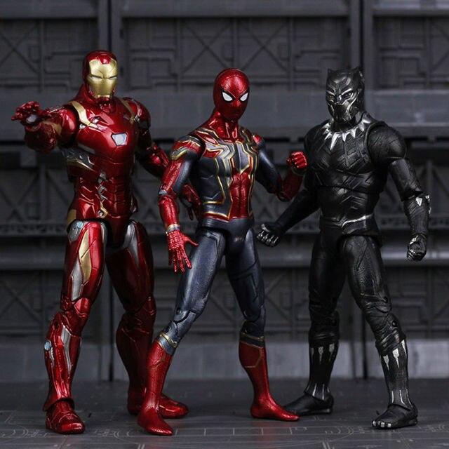 נוקמי מלחמת אינסוף ברזל עכביש דמות ספיידרמן שחור פנתר איש ברזל פעולה איור צעצוע