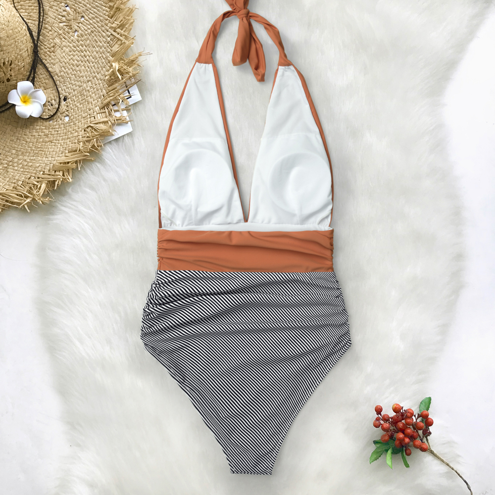 CUPSHE Keeping You Accompained Stripe One-piece Swimsuit V neck Backless Halter Sexy Bikini 2019 Ladies Beach Bathing Swimwear 3
