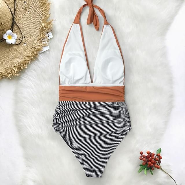 CUPSHE Keeping You Accompained Stripe One-piece Swimsuit V neck Backless Halter Sexy Bikini 2020 Ladies Beach Bathing Swimwear 4