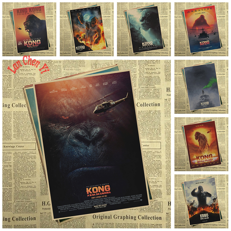 Sci fi action movie Kong: Skull Island Matte Kraft Paper Poster Office Gift Room Dining Home Decor wall sticker Design
