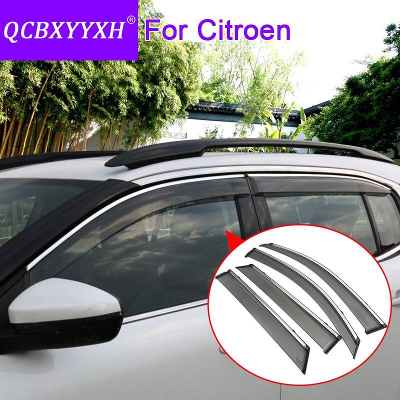Otomobiller ve Motosikletler'ten Tenteler ve Barınaklar'de QCBXYYXH Araba Styling 4 adet/grup Pencere Siperliği Citroen C2 C3 XR C4 C5 Aircross C4L C elysee Güneş Yağmur kalkan Çıkartmalar Kapakları title=