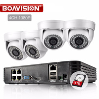 4CH 1080P 2 0MP 15V POE NVR CCTV System Mini Dome 36LEDS 3 6MM Lens P2P