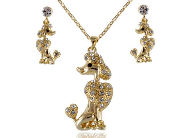 Tom ouro Poodle Dog Show Clr Cristal Strass Brinco Conjunto De Colar