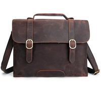 YISHEN Retro Fashion Business Men Briefcase The First Layer Of Crazy Horse Leather Laptop Case Handmade