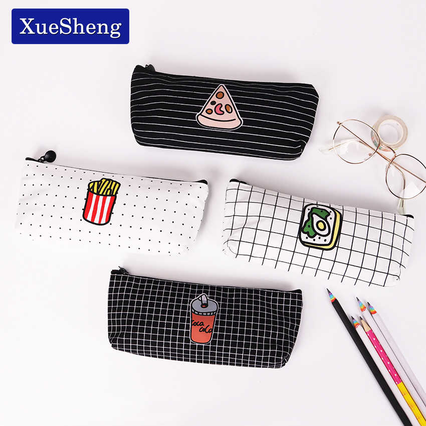 Cute Food Contracted Pencil Bag Papelaria Canvas Pencil Case Stationery Material Escolar School Supplies