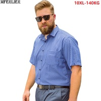 men classic plaid shirts short sleeve summer father casual shirt pocket plus size big 8XL 9XL 10XL mans blue red loose shirts 58