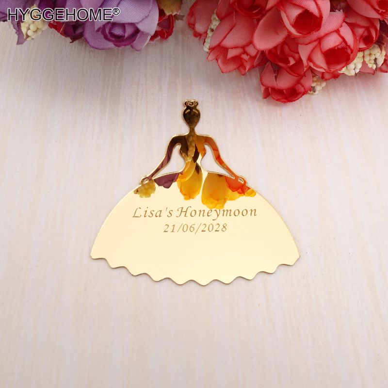 Custom Wedding 30pcs 10cm Mirror Bride Tags Card Personalized Lovers Name Date Bridal Favors Guest Gifts Party Decor Supplies image