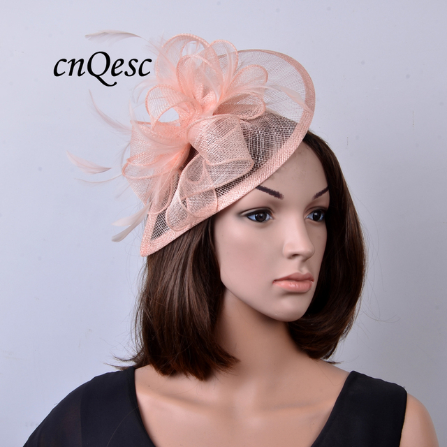 NEW colour Nude pink Feather sinamay fascinator hat for Wedding ... 2d001d9ff4fe