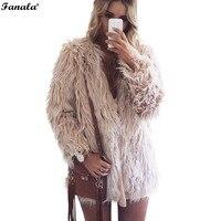 2018 Winter Faux Fur Coat Women Winter Pink Faux Fur Vest Long Sleeve Solid Jackets Warm Cape Gilet Autumn Fourrure Outerwear