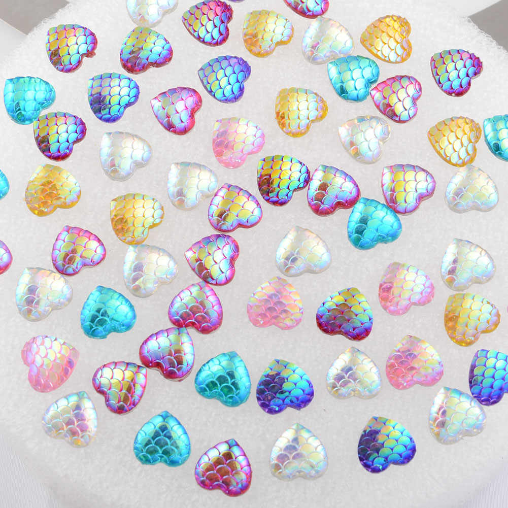BOLIAO 30Pcs 12*12mm ( 0.47*0.47in ) Heart Shape Fish scale Mix Resin Flatback Clothes Home Holiday Decoration DIY