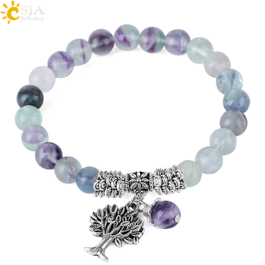 CSJA 8mm Fluorite Mala Beaded Bracelets Natural Stone Strand Bracelet for Women Retro Silver Color Tree Charms Jewellery F349CSJA 8mm Fluorite Mala Beaded Bracelets Natural Stone Strand Bracelet for Women Retro Silver Color Tree Charms Jewellery F349
