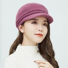 купить Winter Women Cap Warm Knitted Thicken Rabbit Fur Wool Ladies Beret Hat Beanie Hat Visor Newsboy Cap Hat for Women по цене 459.83 рублей