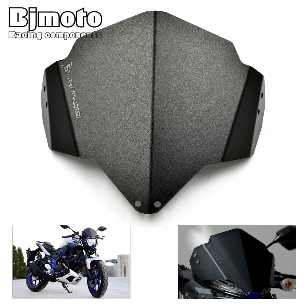 Bjmoto Motorcycle Motorbike Black Aluminum Windshield Windscreen For Yamaha MT03 MT-03 2015 2016 2017 Motocross motorcycle windscreen windshield for hyosung atk gt125 gt650r gt250r kasinski mirage 250r 650r motocross motorbike dirt bike