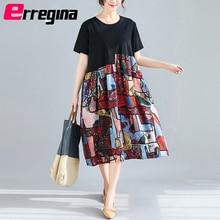 Erregina Plus Size Women Dress Vintage Short Sleeve Summer Sundress Big Female Elegant Lady Vestidos Loose Print