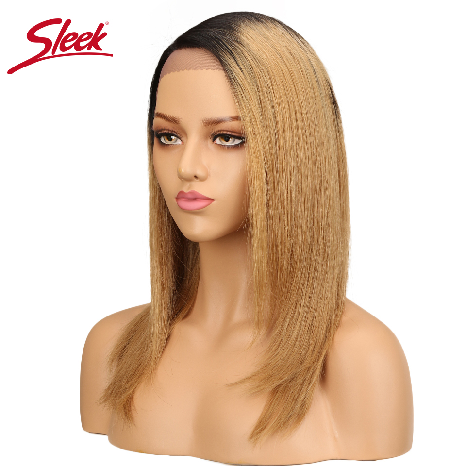 Sleek Human Hair Lace Wigs For Black Women Brazilian Remy Straight Hair Wig T1B 27 Color