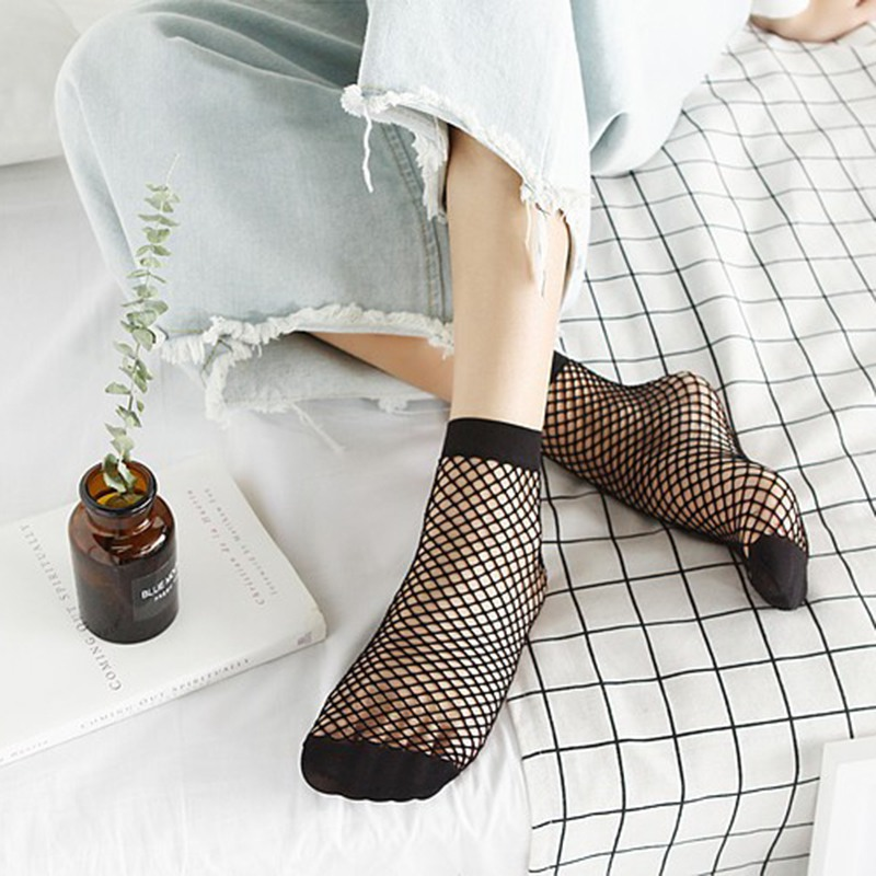 New 1 Pair Fishnet Socks Women Breathable Ruffle Mesh Socks Punk Sexy Lace Ankle Ladies Sock