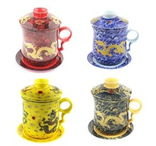 Neue 350CC Drachen Keramik Teetasse Porzellanbecher Mit Filter Chinesischen Kung Fu Teetasse Blaue und Weiße Tassen und untertassen