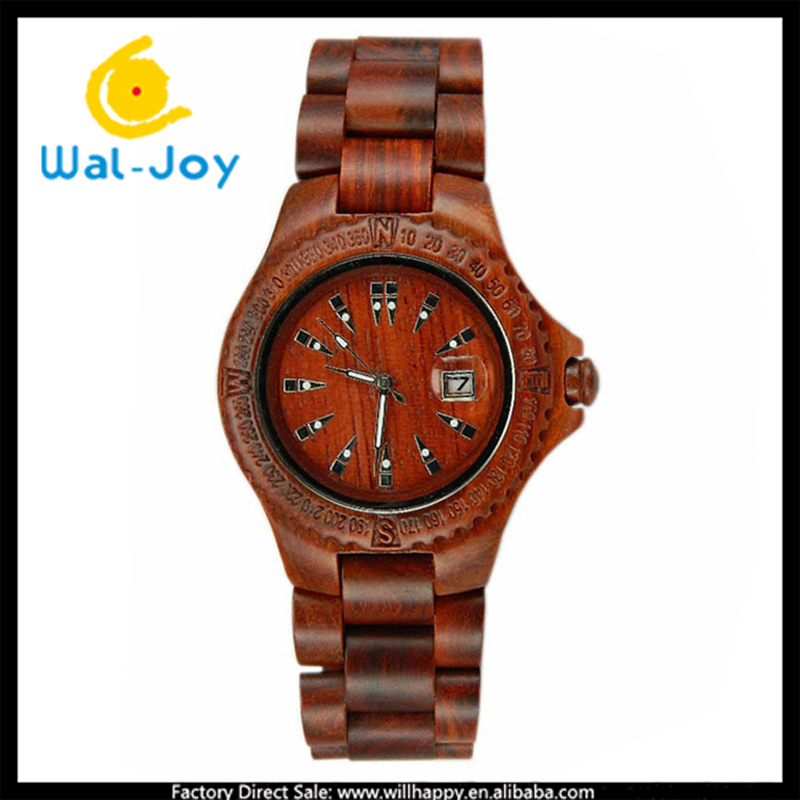 10/lot WJ-5354 newest hot sale wooden with calendar fashion vintage creative men watch