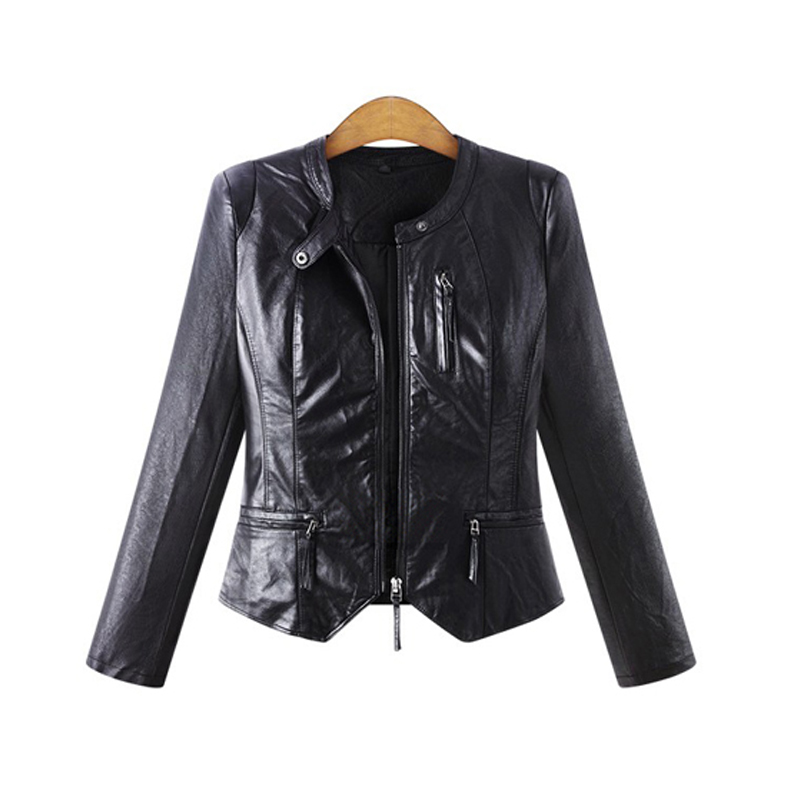 High Quality 2017 New Casual Autumn Women   Leather   Jacket Black Color Mandarin Collar Zippers Short Female Faux   Leather   Jackets
