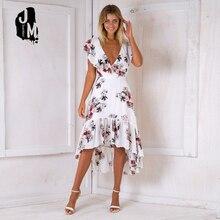 7e729a1ea75f Print V-neck Midi Women Dress Backless Sexy Summer Beach Dress Women Dresses  Summer Casual Easy Elegant Bohemian Beach Dresses
