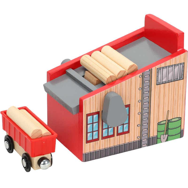 Друзья деревянный трек-сцена аксессуары пиломатериалы двора совместимы с железнодорожной Автомобильная платформа том деревянный трек Brio трек железная дорога