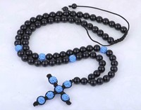 2013 New High Quality Fashion Cross Shamballa Necklace Wholesale Blue CZ Crystal Christian Cross Rosary Black