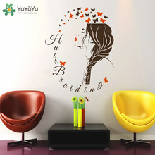 YOYOYU Wall Decal Girls Beauty Salon Sticker Hairdresser Vinyl Wall Stickers Fashion Woman Hair Spa Removable Home Decor SY649