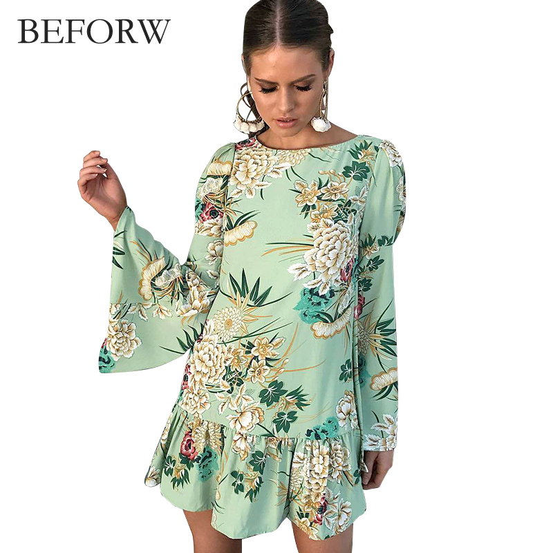 BEFORW Autumn And Winter Dress Fahsion Lotus Leaf Side Printing Dresses Round Neck Long Sleeves Womens Clothing Sexy Loose Dress