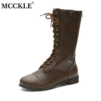 MCCKLE Female Zip Lace Up Vintage Style Chunky Heel Mid Caif Boots 2017 Women S Fashion