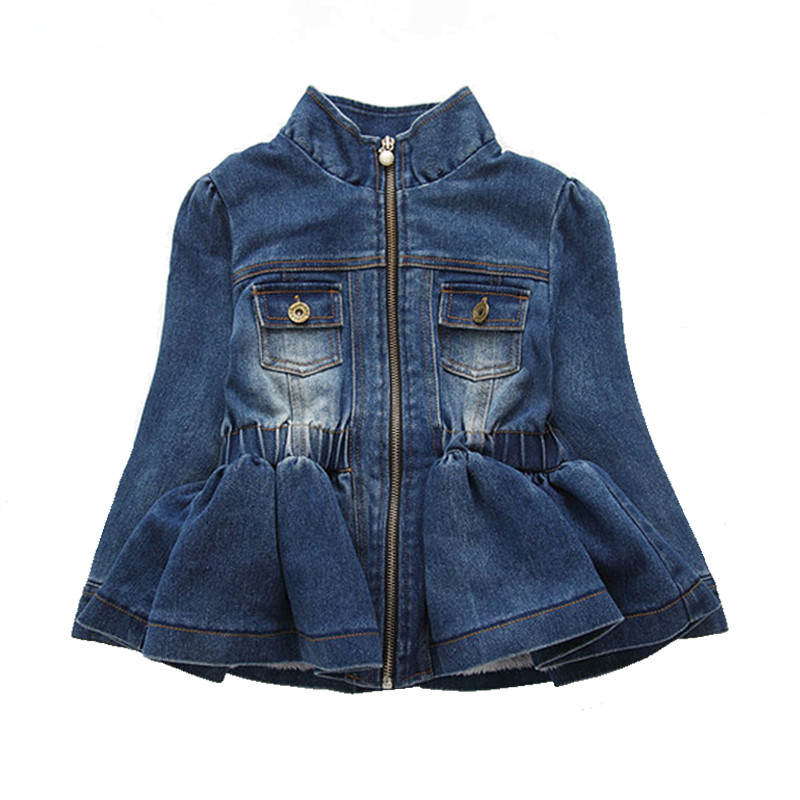 все цены на 2018 Spring Autumn Baby Girls Kids Lace Cowboy Jacket Denim Top Button Jean Jackets Coats Costume Long Sleeve Jackets Outfits