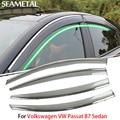 4 pcs/lotfor volkswagen vw passat b7 sedan 2012-2015 janela do carro da viseira sun chuva escudo de cobre decoração exterior auto acessórios