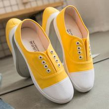 Adult canvas casual shoes woman flats 2019 solid comfortable flat with sneakers